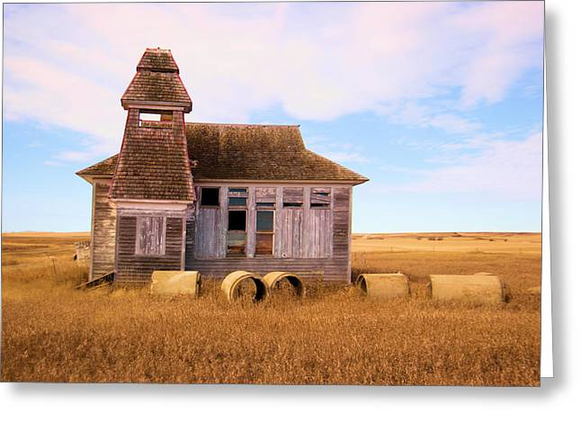 Old Relics Greeting Cards - Old School House in North Dakota Greeting Card by Jeff  Swan
