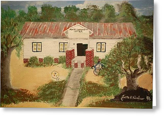 Barn Yard Pastels Greeting Cards - Old School House Greeting Card by Joetta Beauford