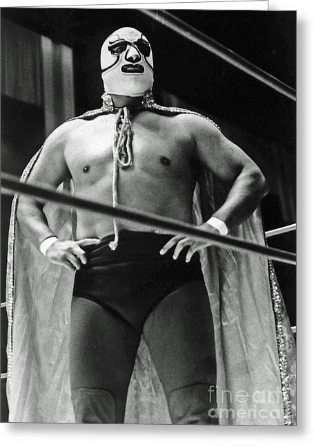 Roller Derby Greeting Cards - Old School Masked Wrestler Luchador Greeting Card by Jim Fitzpatrick