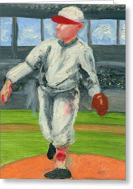 Baseball Paintings Greeting Cards - Old School Pitcher Greeting Card by Jorge Delara