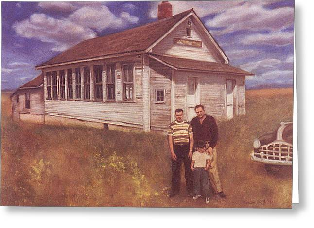 Old School Houses Paintings Greeting Cards - Old Schoolhouse Revisited Greeting Card by Suzn Smith