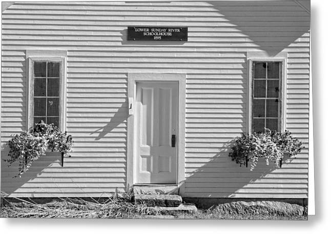 Old Maine Houses Greeting Cards - Old Schoolhouse Sunday River Maine Black and White Greeting Card by Keith Webber Jr