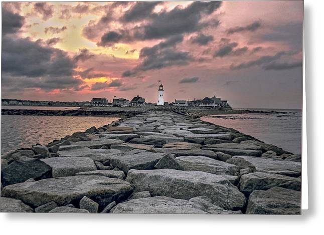 Old Scituate Light At The End Of The Jetty Greeting Card by Charlie Cliques
