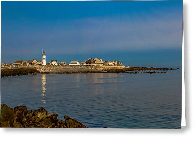 Boston Ma Greeting Cards - Old Scituate Light from the Jetty Greeting Card by Brian MacLean
