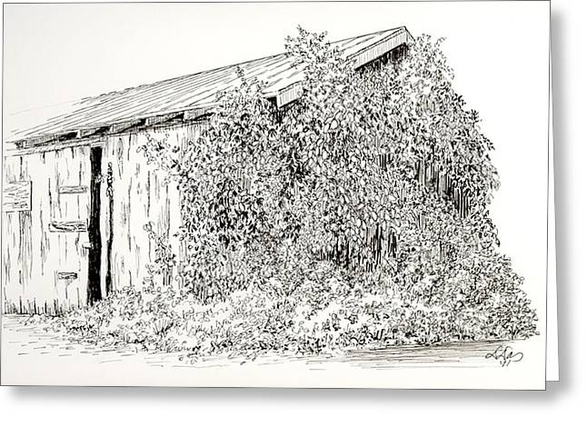 Shed Drawings Greeting Cards - Old Shed Greeting Card by Deborah Dallinga