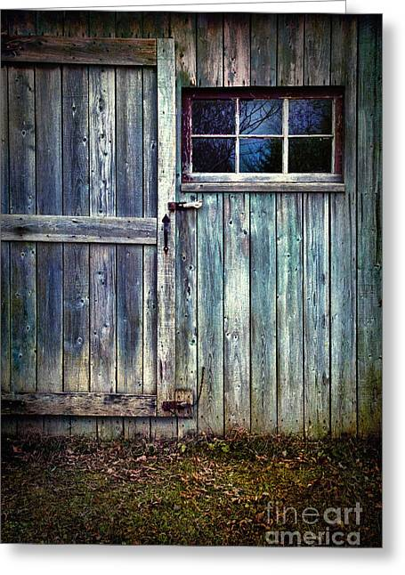 Peeling Greeting Cards - Old shed door with spooky shadow in window Greeting Card by Sandra Cunningham