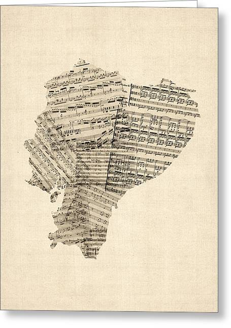 Old Digital Greeting Cards - Old Sheet Music Map of Ecuador Map Greeting Card by Michael Tompsett