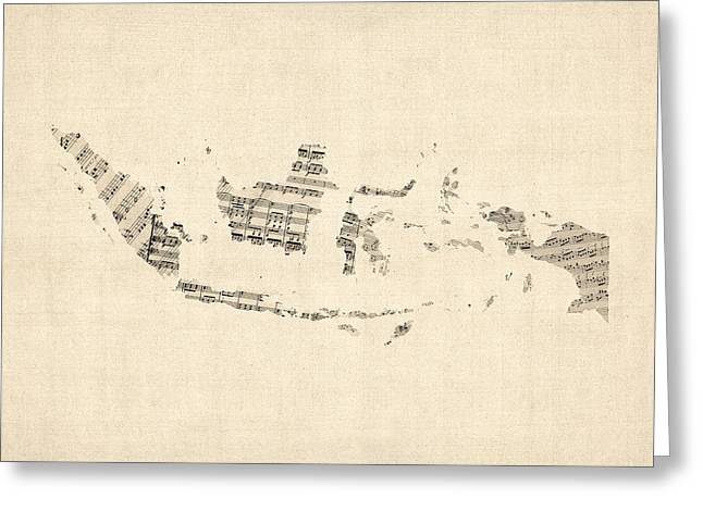 Old Digital Greeting Cards - Old Sheet Music Map of Indonesia Map Greeting Card by Michael Tompsett