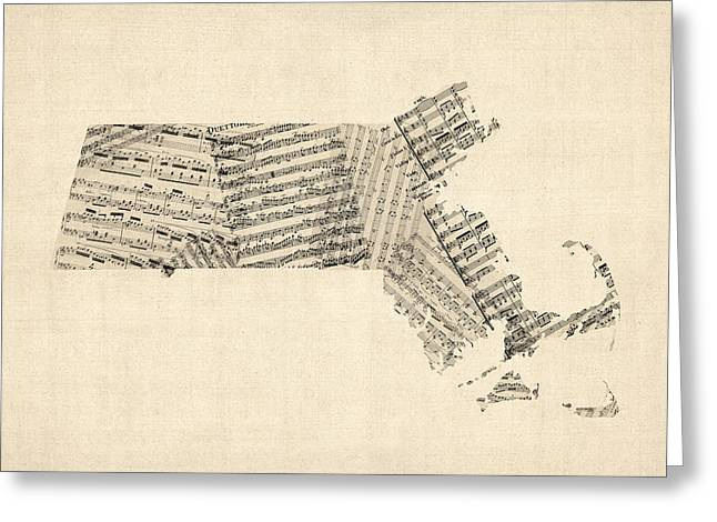 Old Sheet Music Map Of Massachusetts Greeting Card by Michael Tompsett