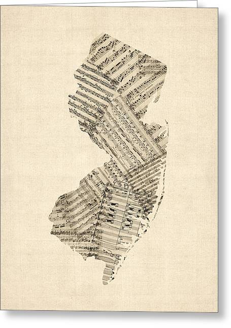 Old Sheet Music Map Of New Jersey Greeting Card by Michael Tompsett