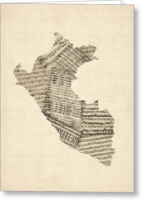 Peru Greeting Cards - Old Sheet Music Map of Peru Map Greeting Card by Michael Tompsett