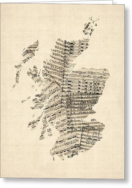 Old Sheet Music Map Of Scotland Greeting Card by Michael Tompsett
