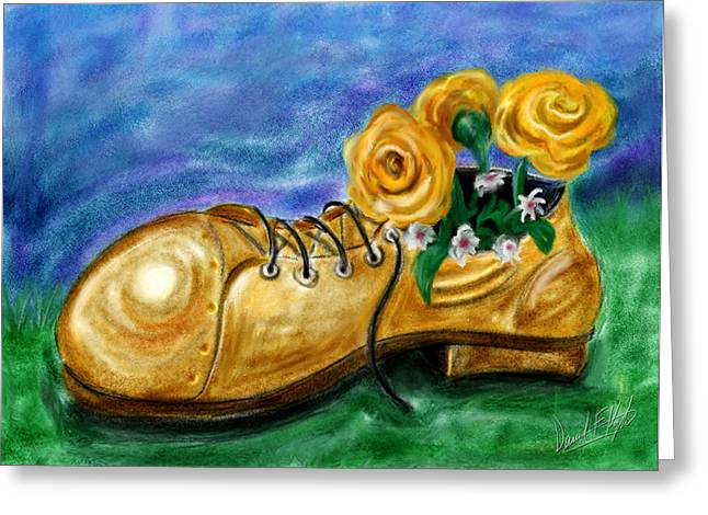 Water Color Digital Art Greeting Cards - Old Shoe Planter Greeting Card by David Kyte