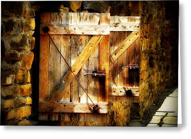 Metal Art Greeting Cards - Old Shutters Greeting Card by Perry Webster