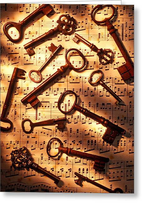 Key Greeting Cards - Old skeleton keys on sheet music Greeting Card by Garry Gay