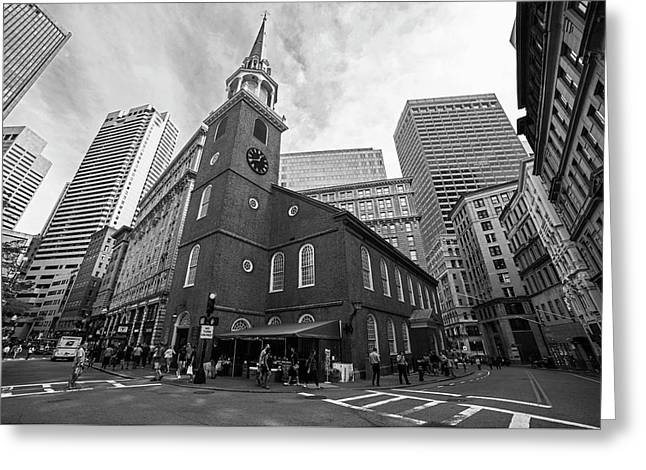 Old South Meeting House Boston Ma Black And White Greeting Card by Toby McGuire