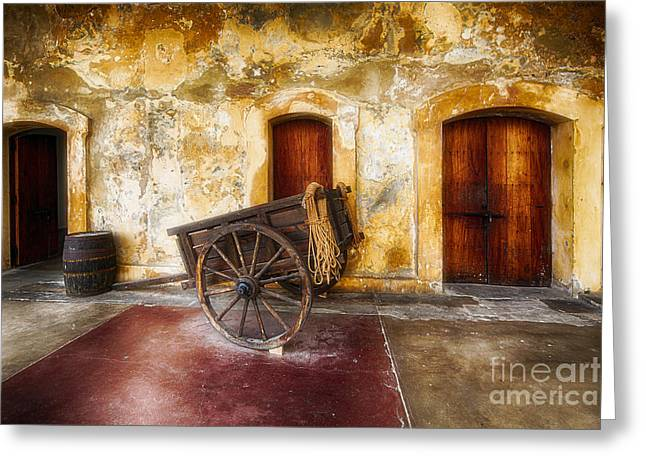 Historic Site Greeting Cards - Old Spanish Fort Interior with a Wooden Cart and a Barrel Greeting Card by George Oze