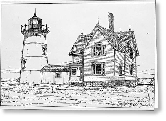 Old Stage Harbor Lighthouse Cape Cod Greeting Card by Ira Shander