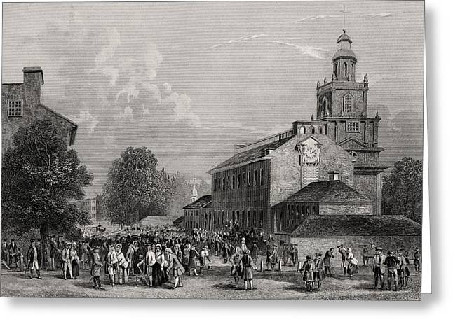 Black American Drawings Greeting Cards - Old State House Philadelphia Usa Greeting Card by Ken Welsh