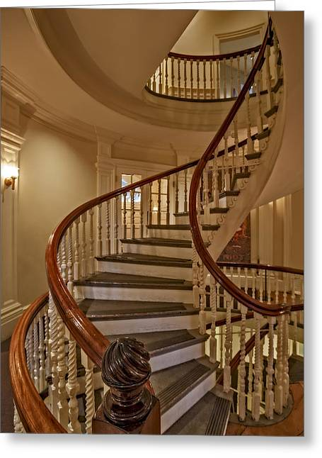 New England Greeting Cards - Old State House spiral Staircase Greeting Card by Susan Candelario