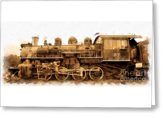 Steam Locomotive Greeting Cards - Old Steam Engine Locomotive Watercolor Greeting Card by Edward Fielding