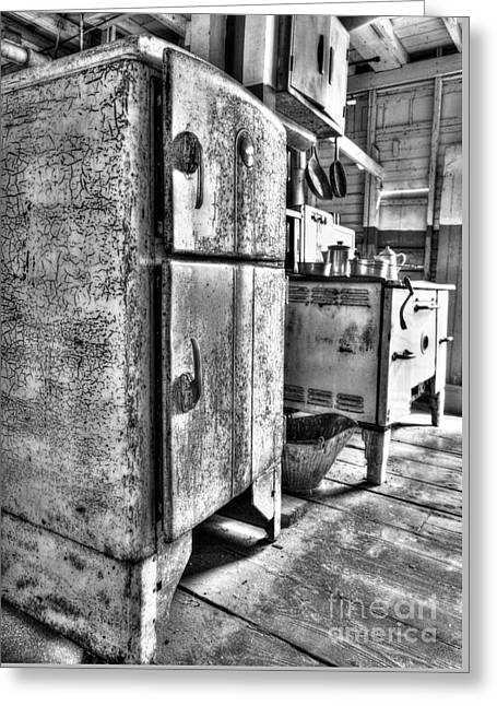 Antique Wood Stove Greeting Cards - Old Steamboat Kitchen BW Greeting Card by Mel Steinhauer