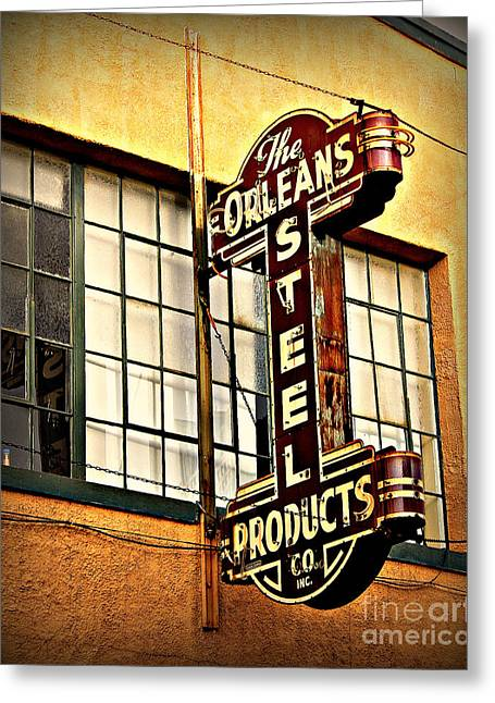 Art Product Greeting Cards - Old Steel Neon Sign Greeting Card by Perry Webster
