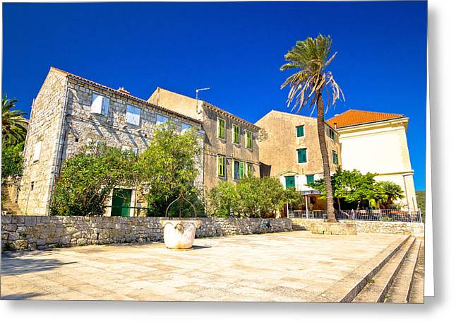 Town Square Greeting Cards - Old stone street in town of Vis Greeting Card by Dalibor Brlek
