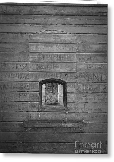 Grey Photographs Greeting Cards - Old Stone Wall with small window Greeting Card by Edward Fielding