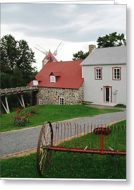 Stone House Pyrography Greeting Cards - Old Stone Windmill Greeting Card by Claude Prud