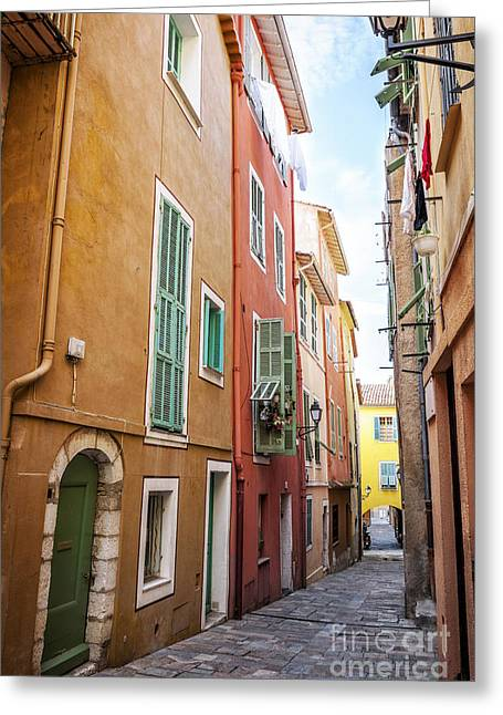 Emerald Coast Greeting Cards - Old street in Villefranche-sur-Mer Greeting Card by Elena Elisseeva