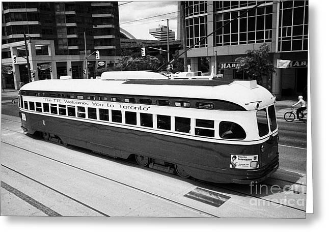 Old Style Toronto Transit System Ttc Tram Streetcar Ontario Canada Greeting Card by Joe Fox