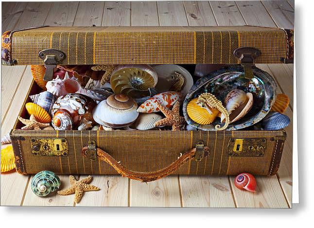Old suitcase full of sea shells Greeting Card by Garry Gay
