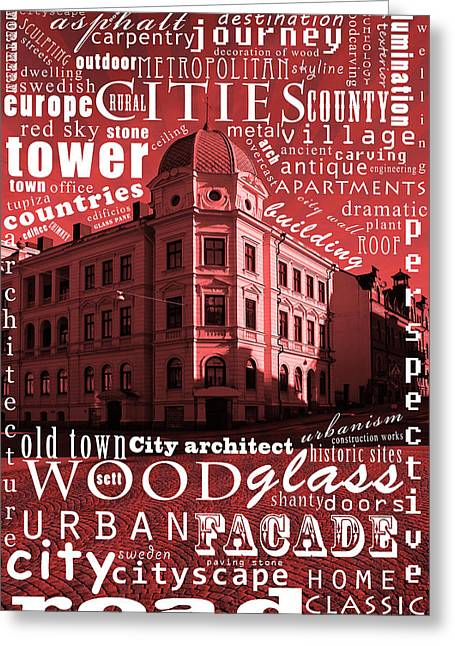 Europe Mixed Media Greeting Cards - Old Swedish building  Greeting Card by Toppart Sweden