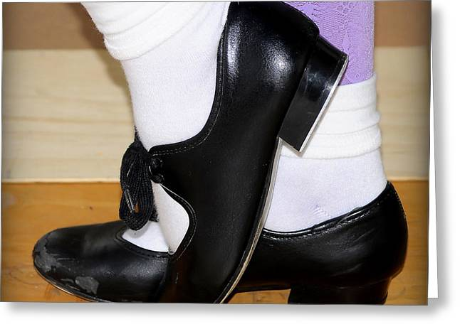 Tap Dancers Greeting Cards - Old Tap Dance Shoes With White Socks And Wooden Floor Greeting Card by Pedro Cardona
