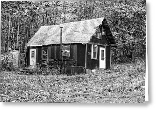 Old Maine Houses Greeting Cards - Old TarPaper Shack Black and White Photo Greeting Card by Keith Webber Jr