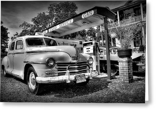 Esso Greeting Cards - Old Taxi Greeting Card by Todd Hostetter