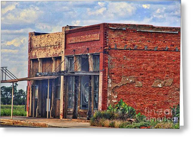 Store Fronts Greeting Cards - Old Texas Store Fronts Greeting Card by Linda James
