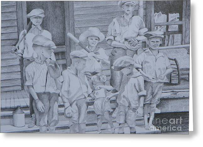 Still Life Photographs Drawings Greeting Cards - Old Time Baseball Greeting Card by David Ackerson