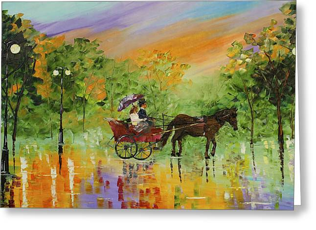 Streetlight Greeting Cards - Old Time Carriage RIde Greeting Card by Kevin  Brown