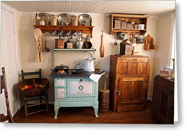 Old Time Farmhouse Kitchen Greeting Card by Carmen Del Valle