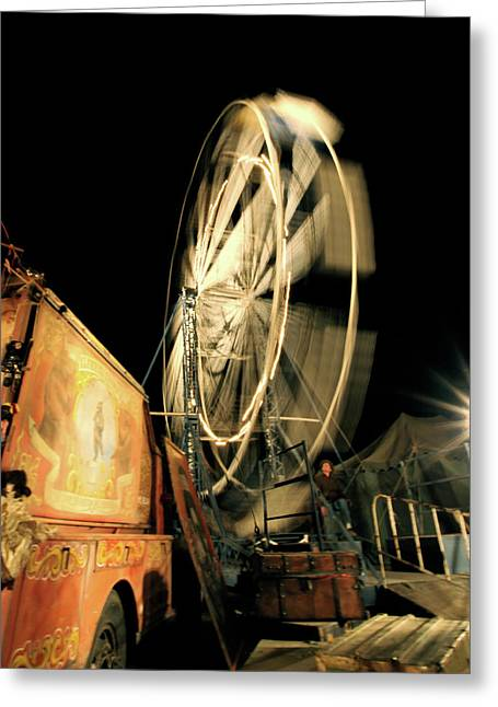 Carnie Greeting Cards - Old Time Ferris Wheel Greeting Card by Glennis Siverson