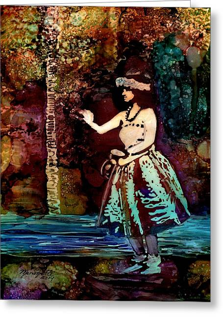 Hula Greeting Cards - Old Time Hula Dancer Greeting Card by Marionette Taboniar