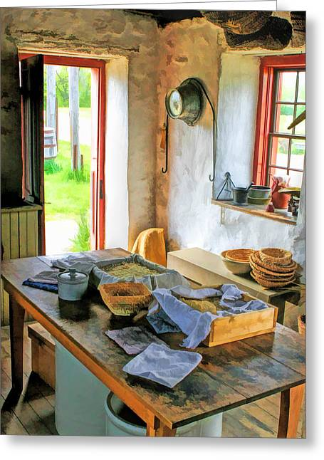 Bygone Greeting Cards - Old Time Kitchen at Old World Wisconsin Greeting Card by Christopher Arndt