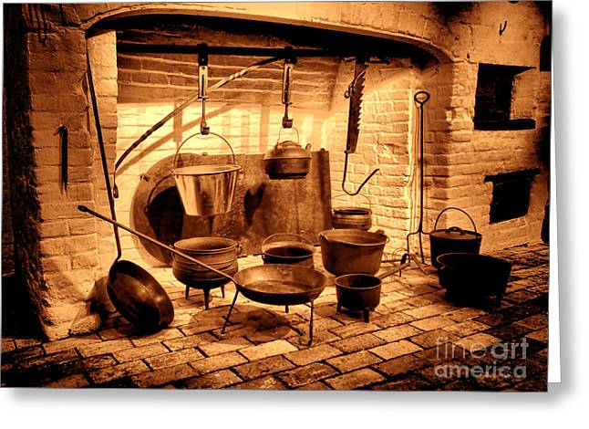 Old Time Kitchen Greeting Card by Olivier Le Queinec