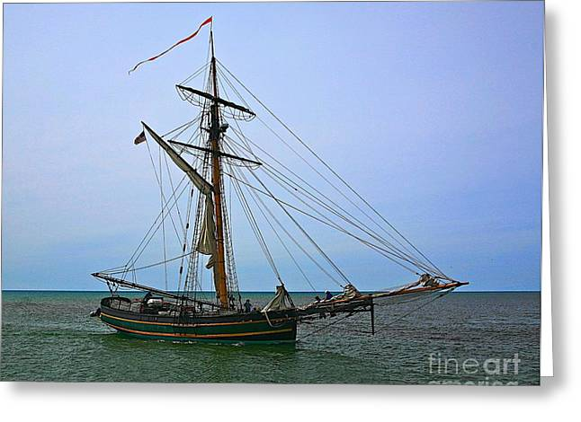Lake Artwork Greeting Cards - Old time sail Greeting Card by Robert Pearson