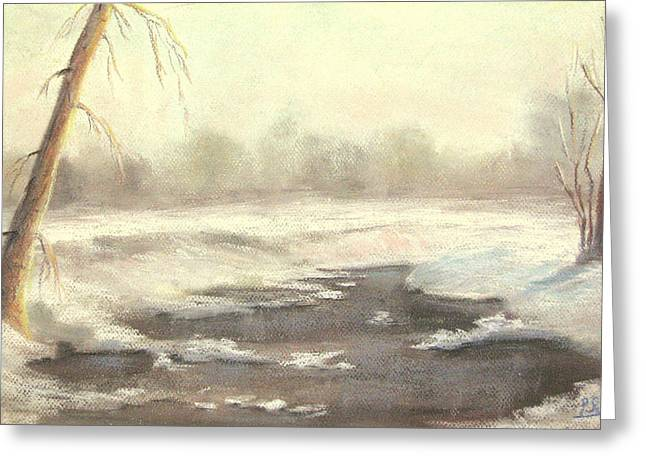 Snow Scene Pastels Greeting Cards - Old Timer Greeting Card by Patricia Seitz