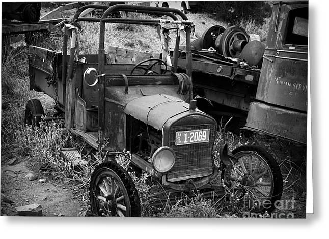 Rusted Cars Greeting Cards - Old Times 2 Greeting Card by Perry Webster