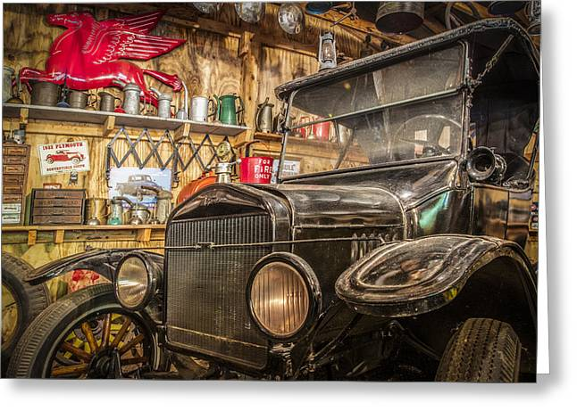 Ford Model T Car Greeting Cards - Old Timey Garage Greeting Card by Debra and Dave Vanderlaan