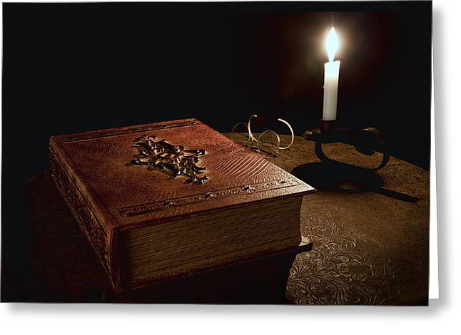 Tome Greeting Cards - Old Tome Still Life II Greeting Card by Tom Mc Nemar